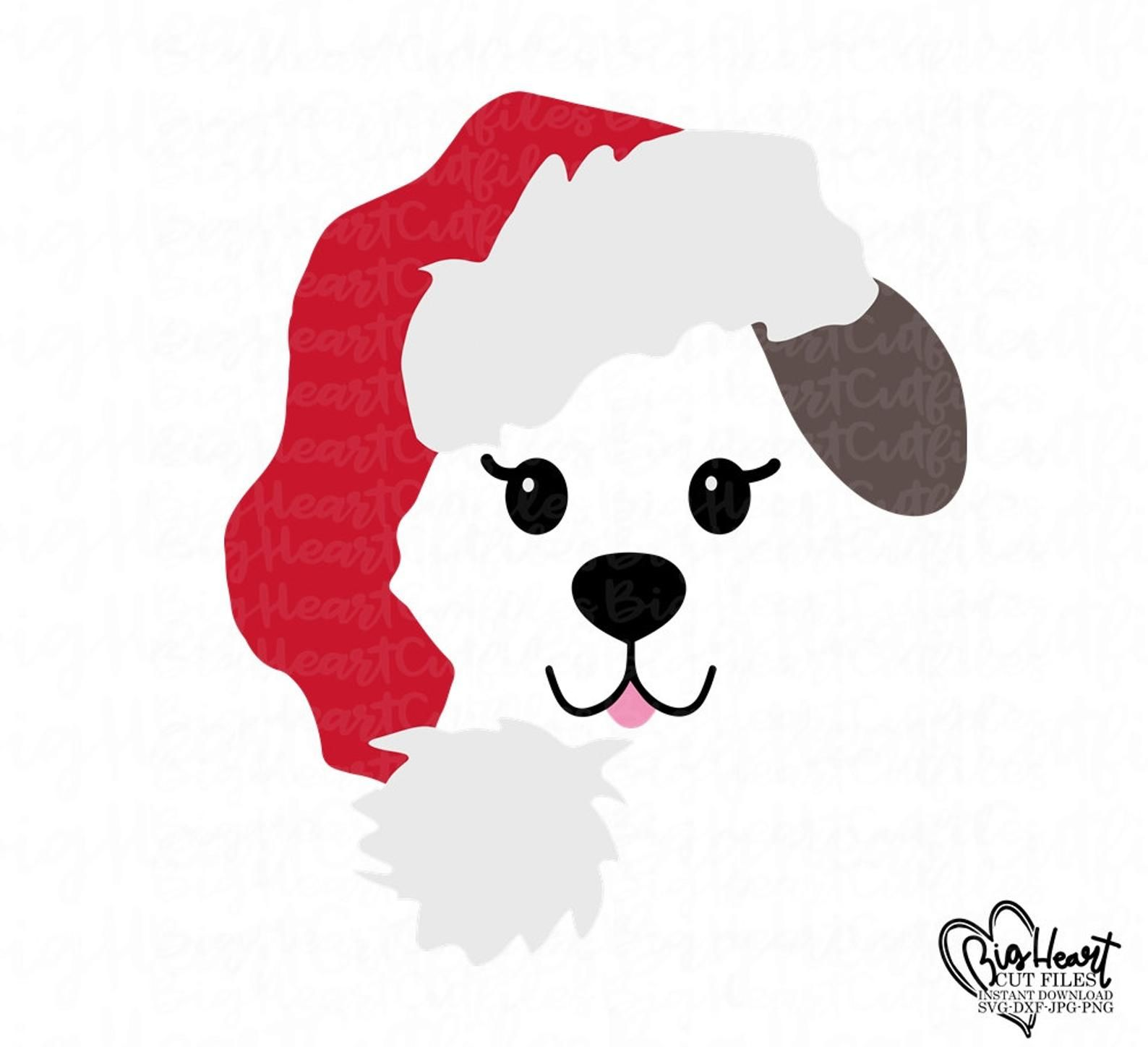 Christmas Puppy Svgsanta Puppy Svgpuppy With Santa Hat Etsy In 2020 Christmas Puppy Christmas Svg Puppies