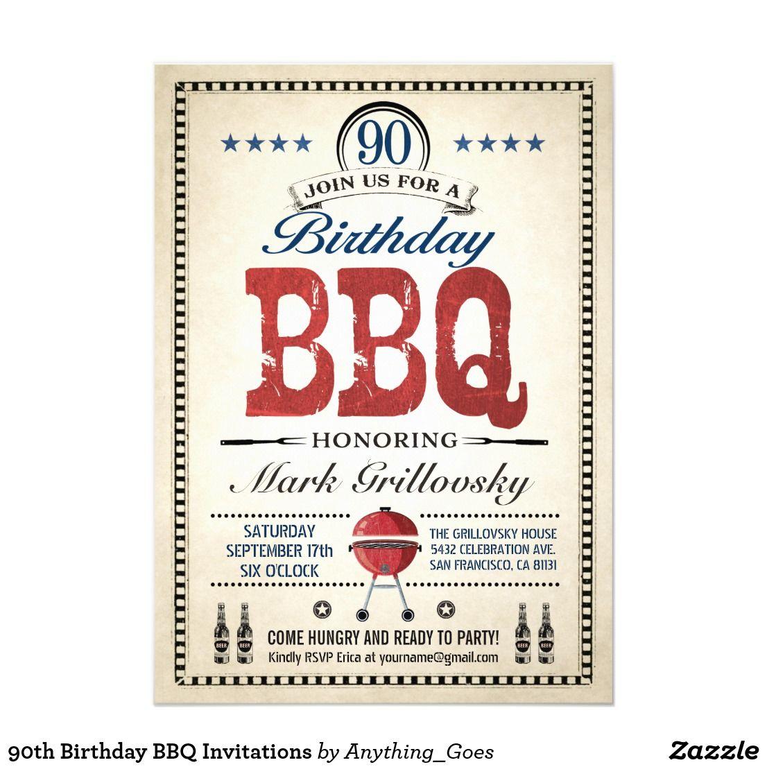 90th Birthday BBQ Invitations | 90th. Birthday | Pinterest | 90 ...