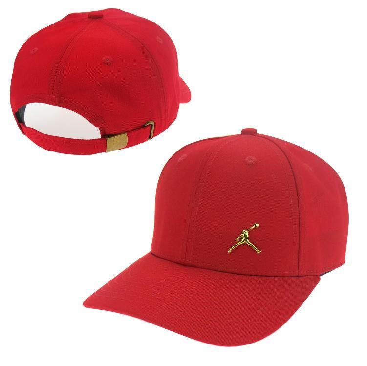 Men s   Women s Unisex Air Jordan The Small Jumpman Gold Metal Logo Strap  Back Adjustable Baseball Hat - Red fb14115f88