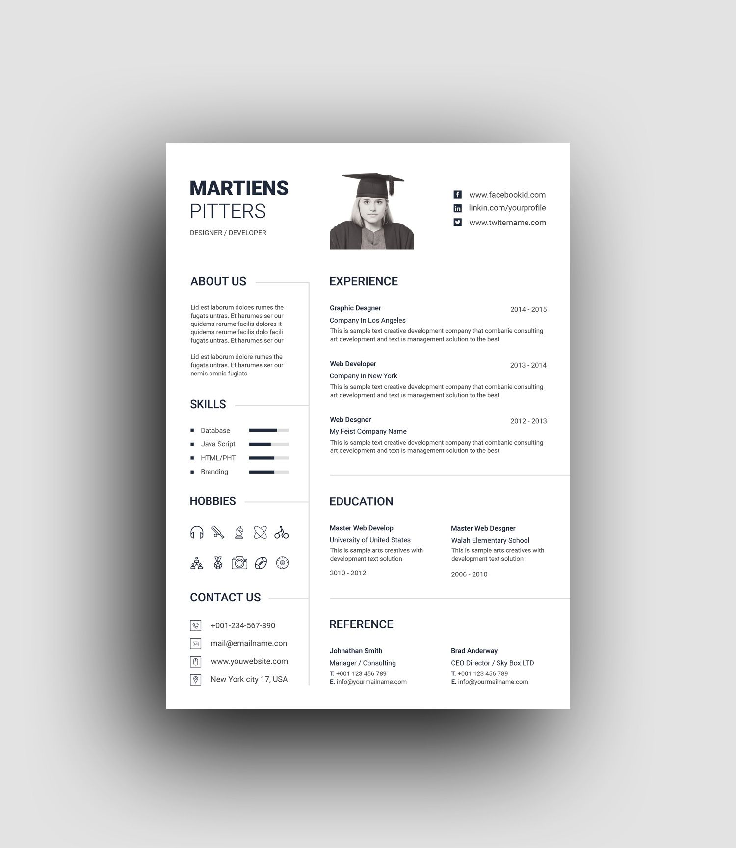 Minimalist Professional Resume Template - Resume template professional, Resume template, Resume design template, Resume templates, Microsoft resume templates, Resume - Minimalist Professional Resume Template  The perfect way to make the best impression  Strong typographic structure and very easy to use and customize    The resume have a very organized  The resume template is in Photoshop PSD and MS Word DOCX formats