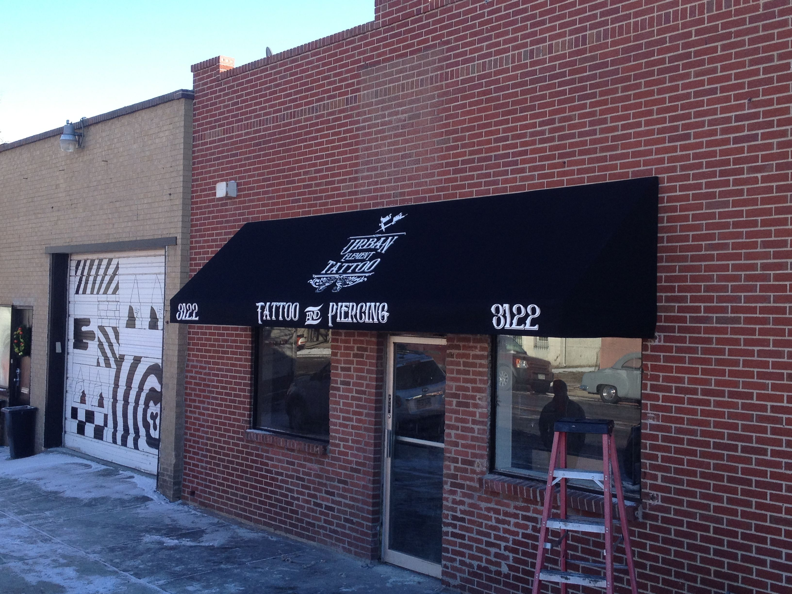 Finished Awning Installed New Fabric Custom Painted Logo Business Name And Street