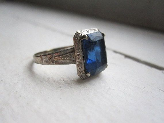 Edwardian 10k White Gold Ring w/ Blue Glass or by VintageMementos, $95.00