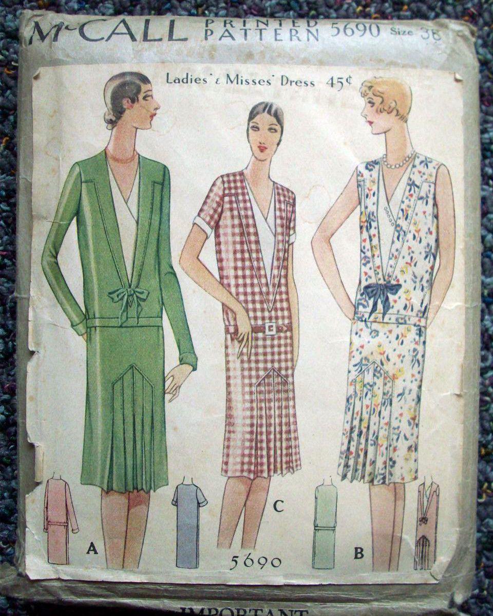 1920\'s McCall\'s women\'s drop waist dress pattern 5690 sz 36 ...