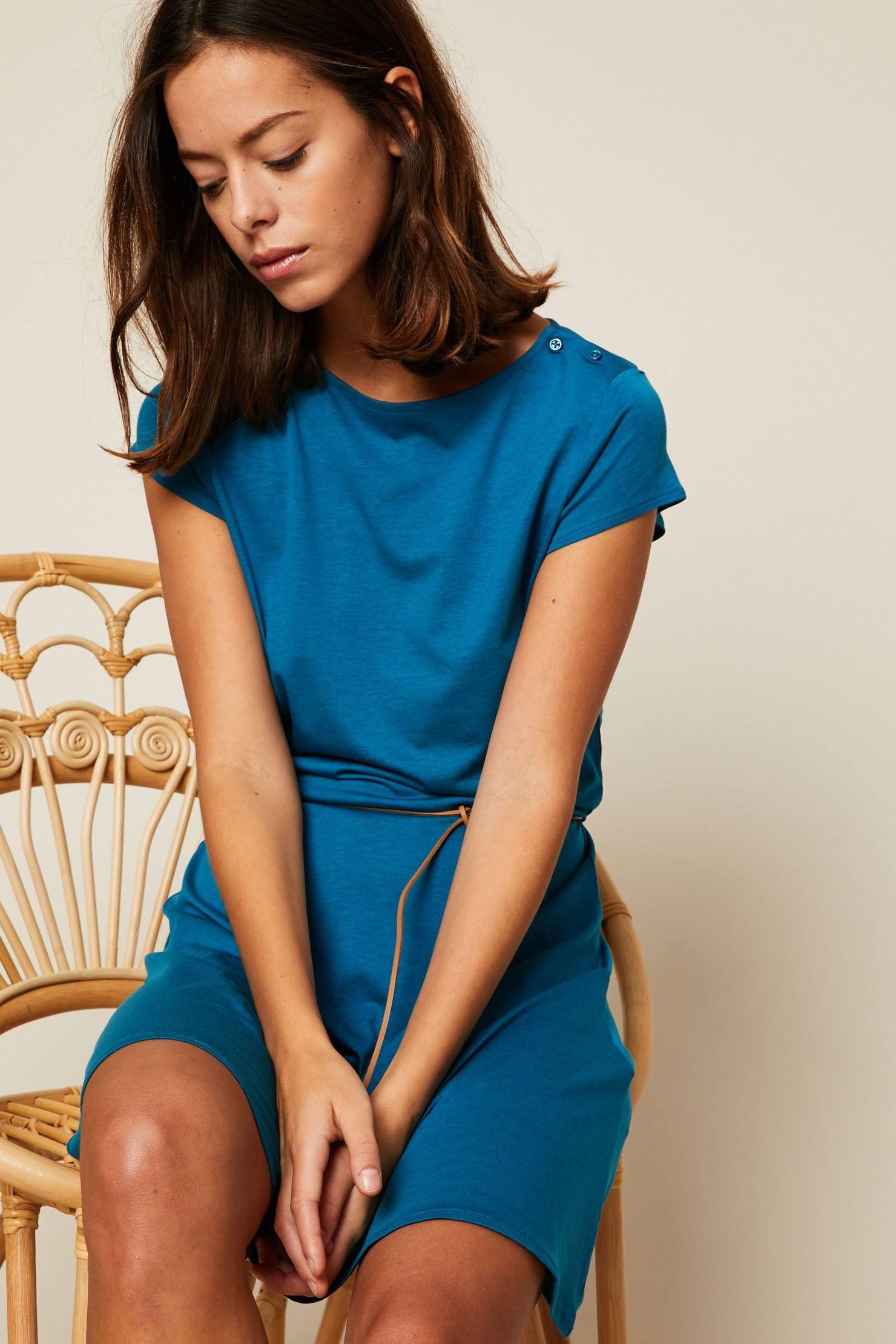 7f2a3ca7faf Sessun Salome Robe courte ceinturée bleu pas cher prix Robe Monshowroom  85.00 € TTC