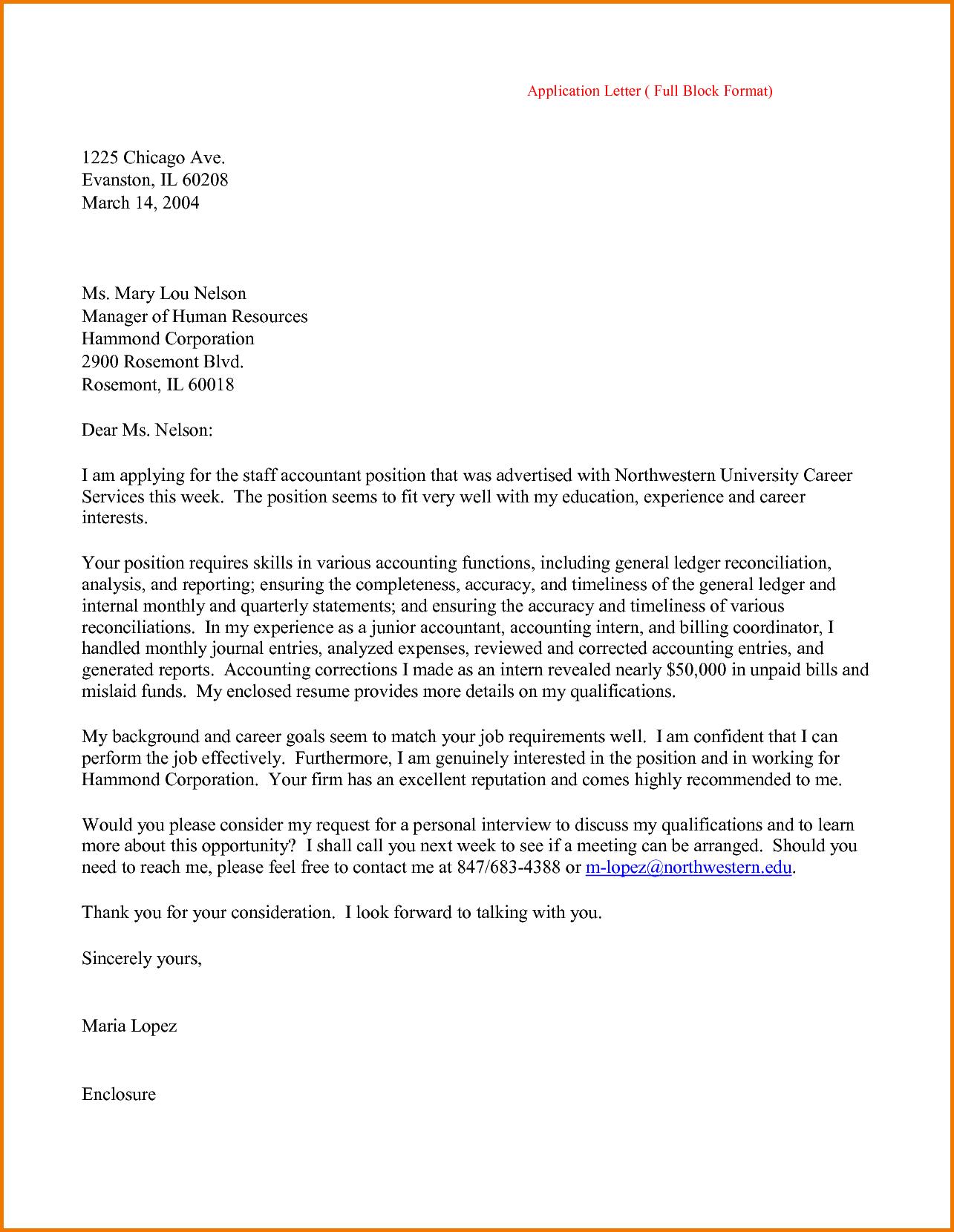 Formal Job Application Letter Format Financial Statement Form Free