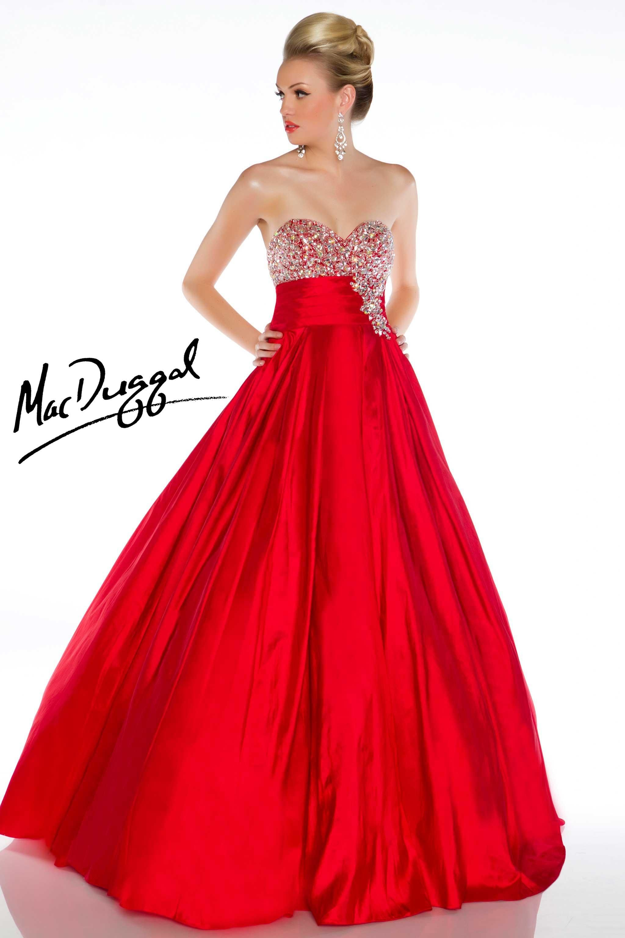 Strapless Red Ball Gown - Mac Duggal | PROM❤ | Pinterest ...