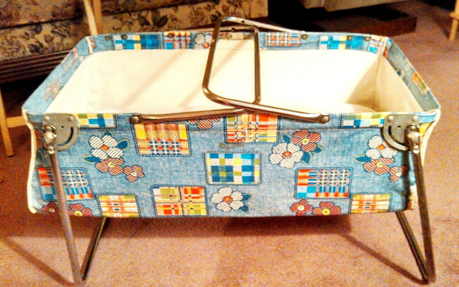 Vintage 1960s Portable Infant Car Bed With Mattress