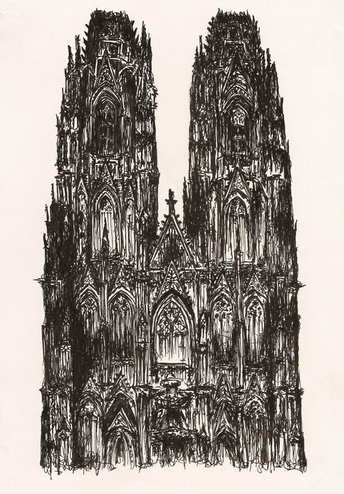 Gothic Cathedral Drawing Gothic Cathedral Architecture Sketch Architecture Old