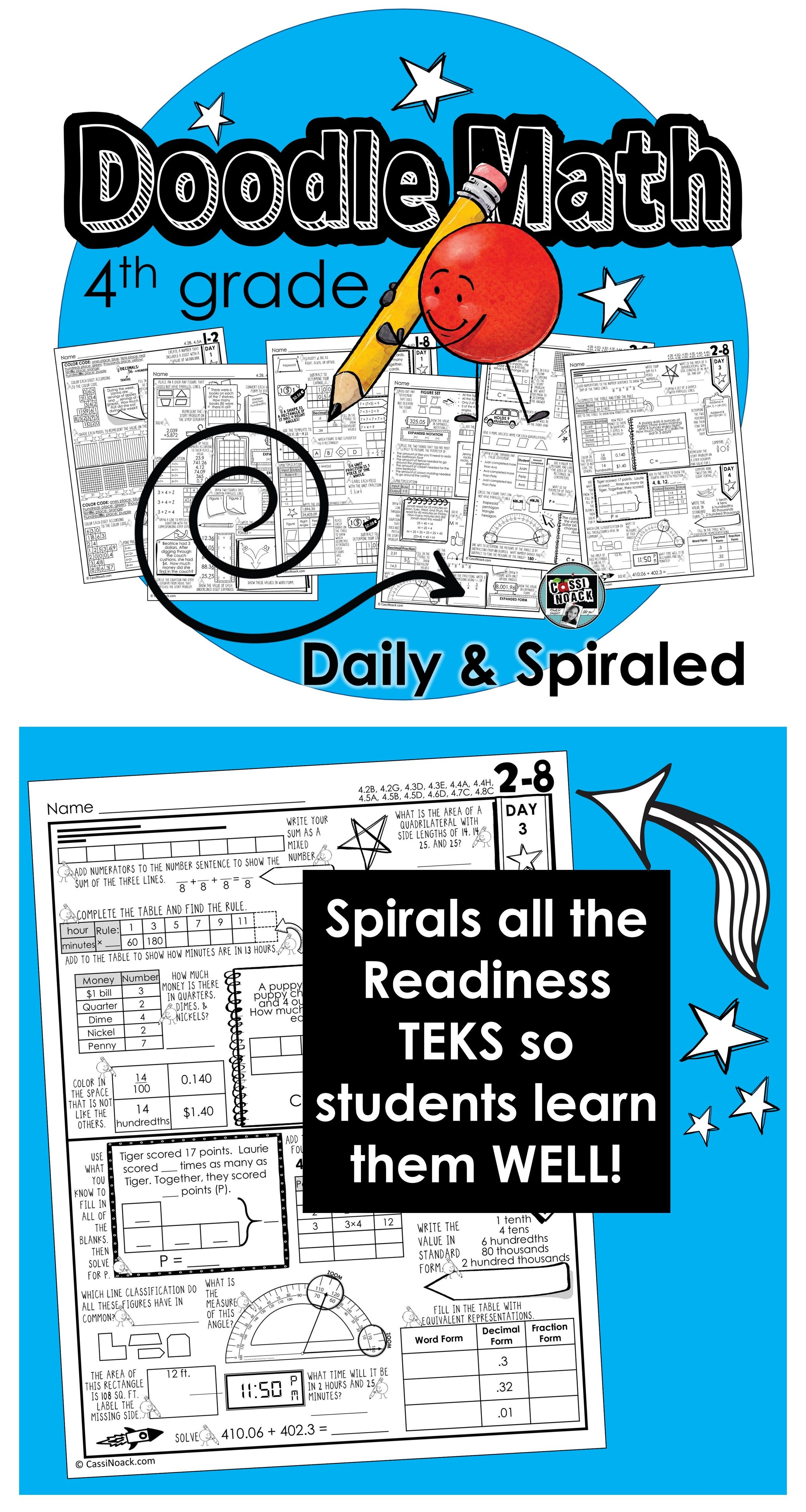 Doodle Math Practice Pages 4th Grade Spiraled