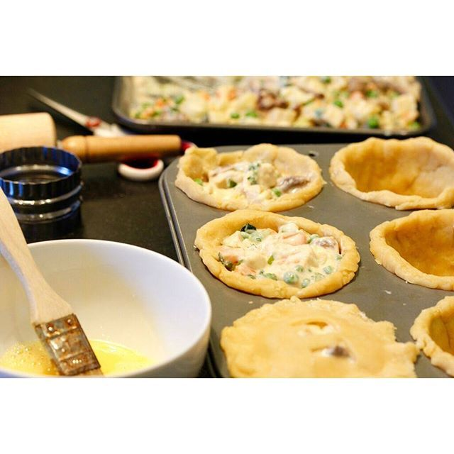 Filling mini chicken pot pies! There's just nothing yummier on a cold day!
