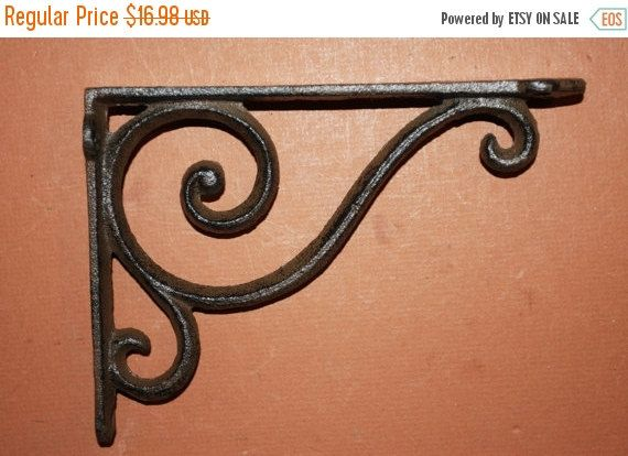 "8 SMALL BROWN ANTIQUE-STYLE 4/"" SHELF BRACKETS CAST IRON rustic garden SCROLL"