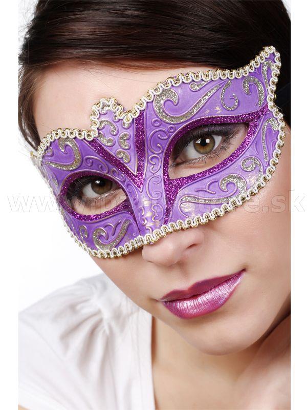 """Maska - Škraboška """" Colombina Fiona """" Venetian Mask, fialová"""