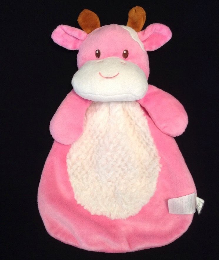 Baby Gear Bright Pink Cow Lovey White Fur Belly Security Blanket