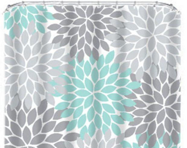 Coral Aqua Gray SHOWER CURTAIN Flowers Custom MONOGRAM Personalized Floral Burst Bathroom Decor Bath Beach Towel Plush Mat Baby Blanket