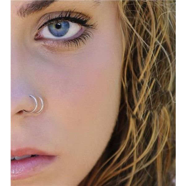 316L Surgical Steel Thin Small Silver Nose Ring Hoop 0.6mm Cartilage... (24 BRL) ❤ liked on Polyvore featuring jewelry, surgical steel jewelry, silver jewellery, lip jewelry, silver jewelry and studded jewelry #doublenosepiercing
