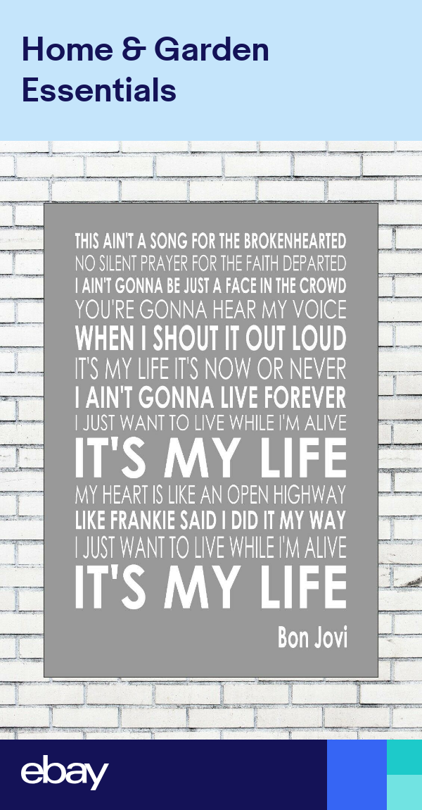It S My Life Bon Jovi Typography Words Song Lyric Lyrics Words Music Wall Art Song Lyrics
