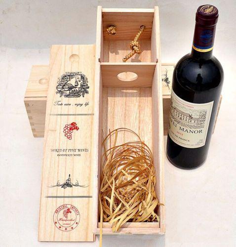 Single Bottle Wood Wine Box Carrier Crate Case Best Gift Decor 35 ...