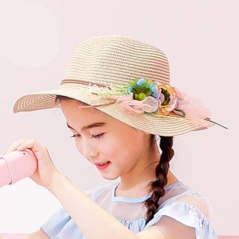 Kids Girls Summer Beach Sun Protection Hat Wide Brim Flower Straw Sun Hat Cap