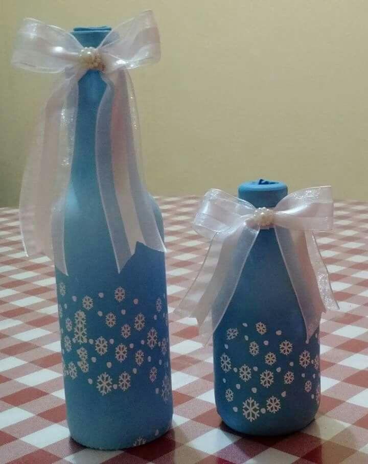 Botella Forrada Con Globo Con Diseños Artesanías Con Botellas De Vino Artesanía De Botella Decoración De Botellas