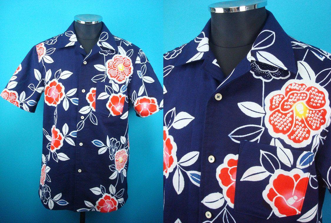 1960's retro cotton Kimono Hawaiian shirt, yukata fabric, Men, US size M by PriscillaTokyo on Etsy