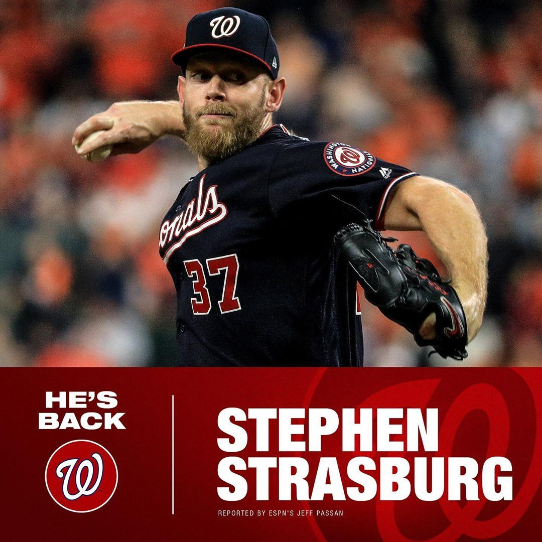 Mlb The World Series Mvp Is Staying In D C Nationals Stephen Strasburg Agree To S Baseball Big4 Bigfour Big4 B Strasburg World Series Espn