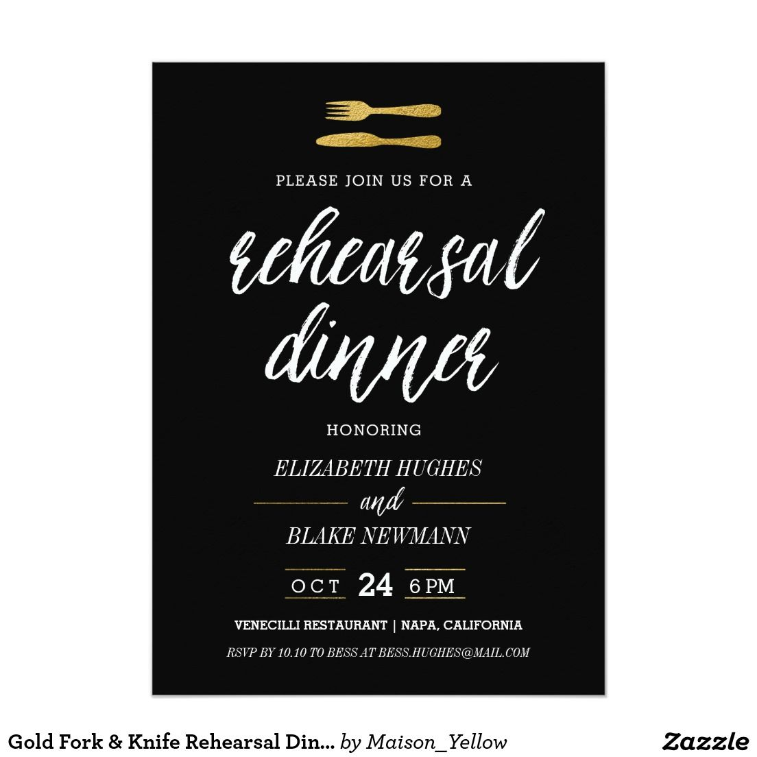 Gold Fork & Knife Rehearsal Dinner Invite - Black