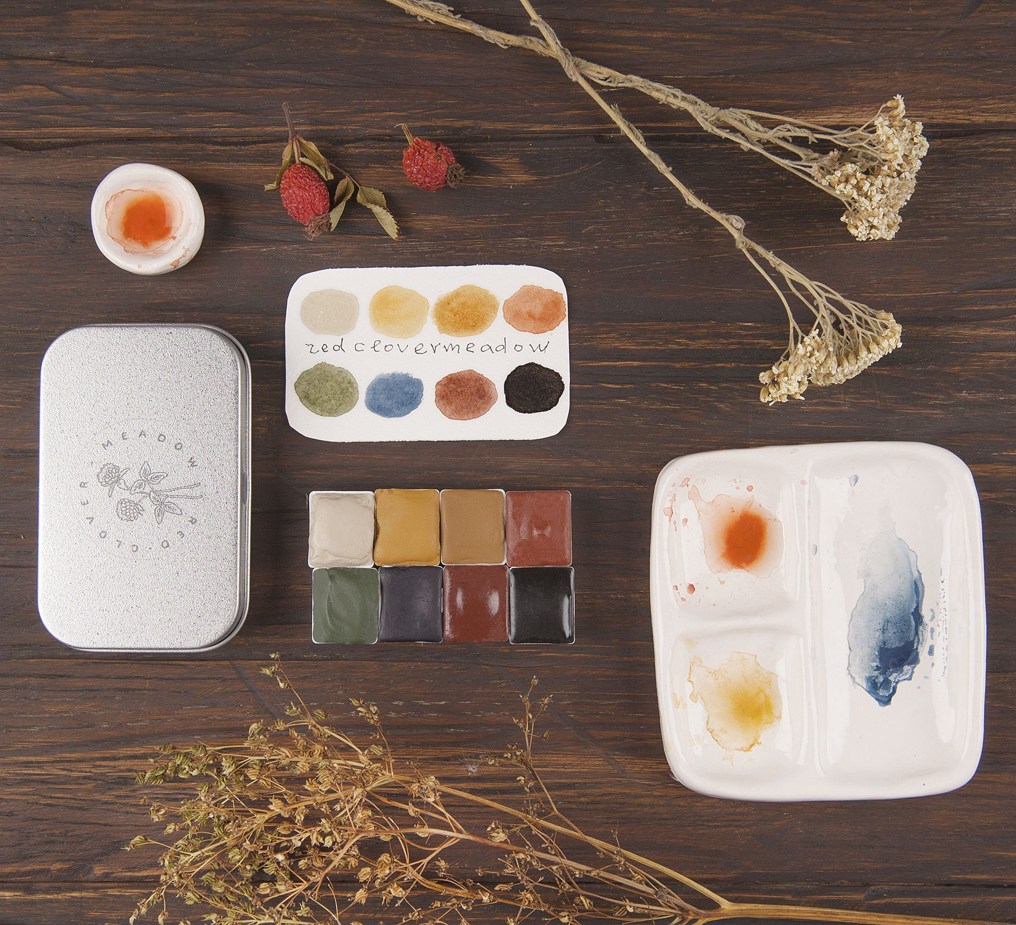 Watercolor Paint Palette Set Of Eight Natural Eco Friendly