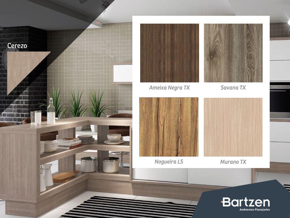 A Bartzen trabalha com uma variada linha de padrões de caixa em seus móveis. Para cozinha, são 18 opções: 3 em MDP e 15 em MDF. Diversificação que você encontra também nos padrões de frente, disponíveis em 53 opções.