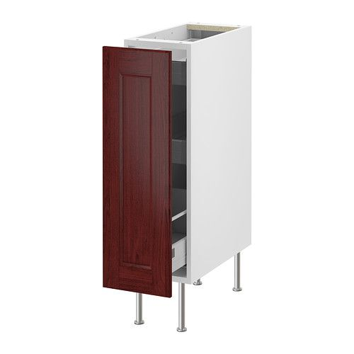 AKURUM Base Cabinet With Pull Out Storage   White, Ramsjö Red Brown,
