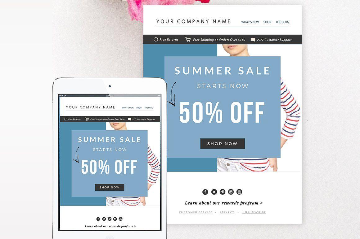 sale email template psd slip colors logo ready 3d design