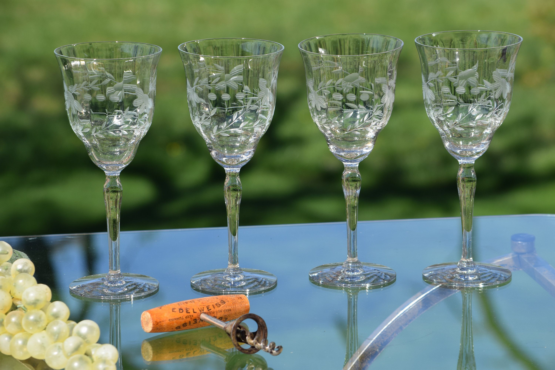 Vintage Etched Optic Wine Glasses Set Of 4 Floral Etched Wine Glasses Elegant Vintage Wedding Toa Etched Wine Glasses Wine Glasses Wedding Toasting Glasses