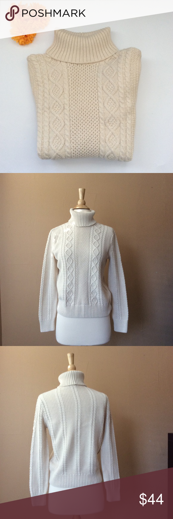 Turtleneck fisherman sweater 100% cotton | Cable knitting, Cable ...