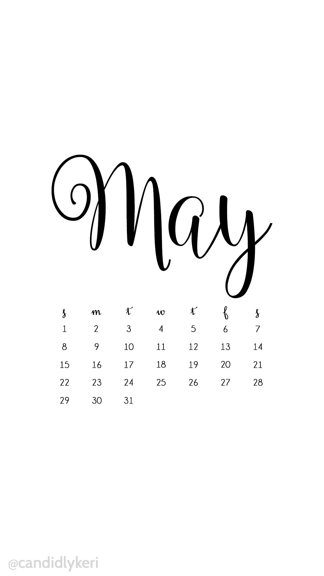 White And Black Script May 2016 Calendar Wallpaper Free Download