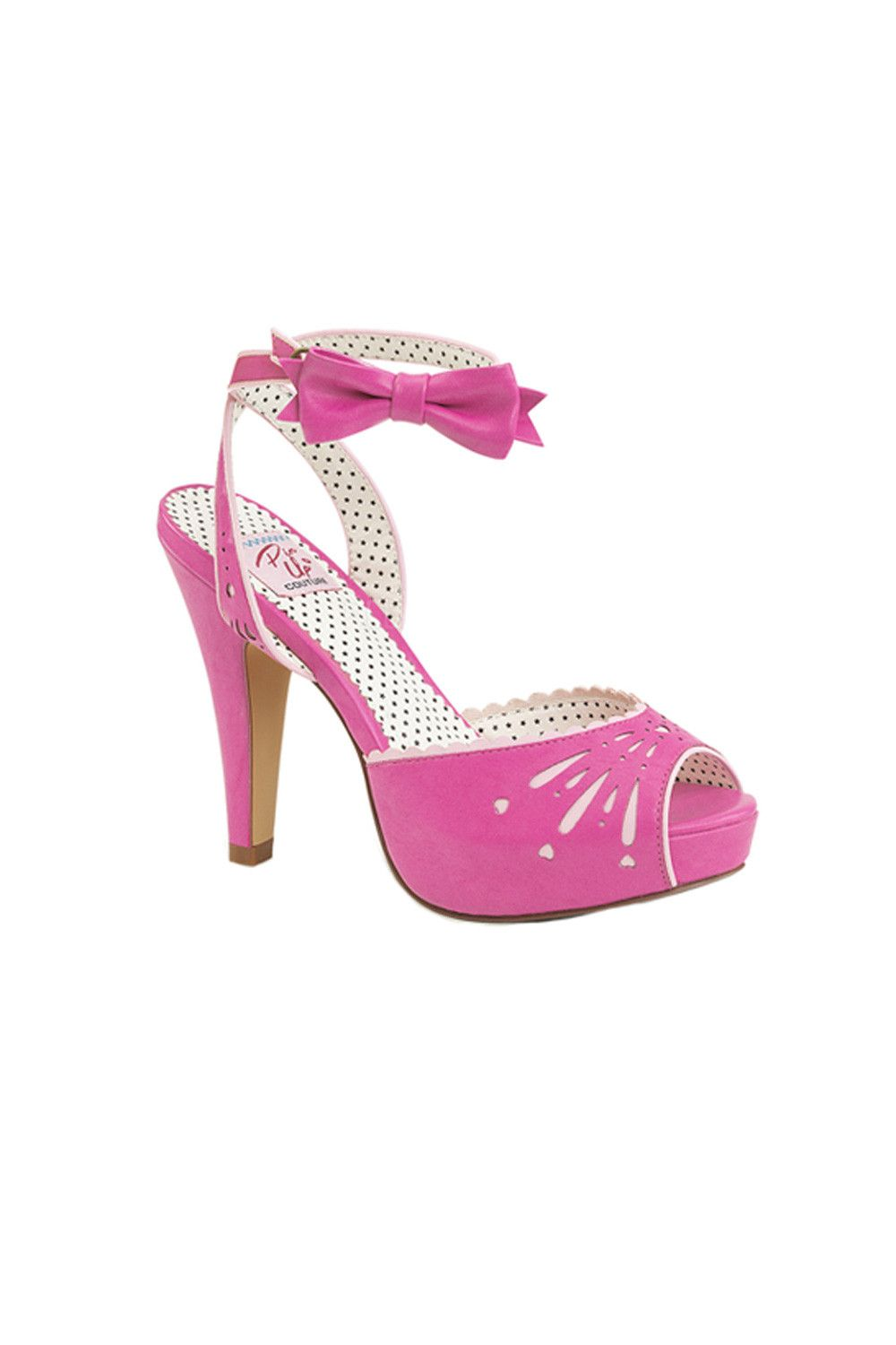 Bettie Peep Toe Wrap Wrap Wrap Around Ankle Strap Heel with Bow in Pink ... 4e65c7