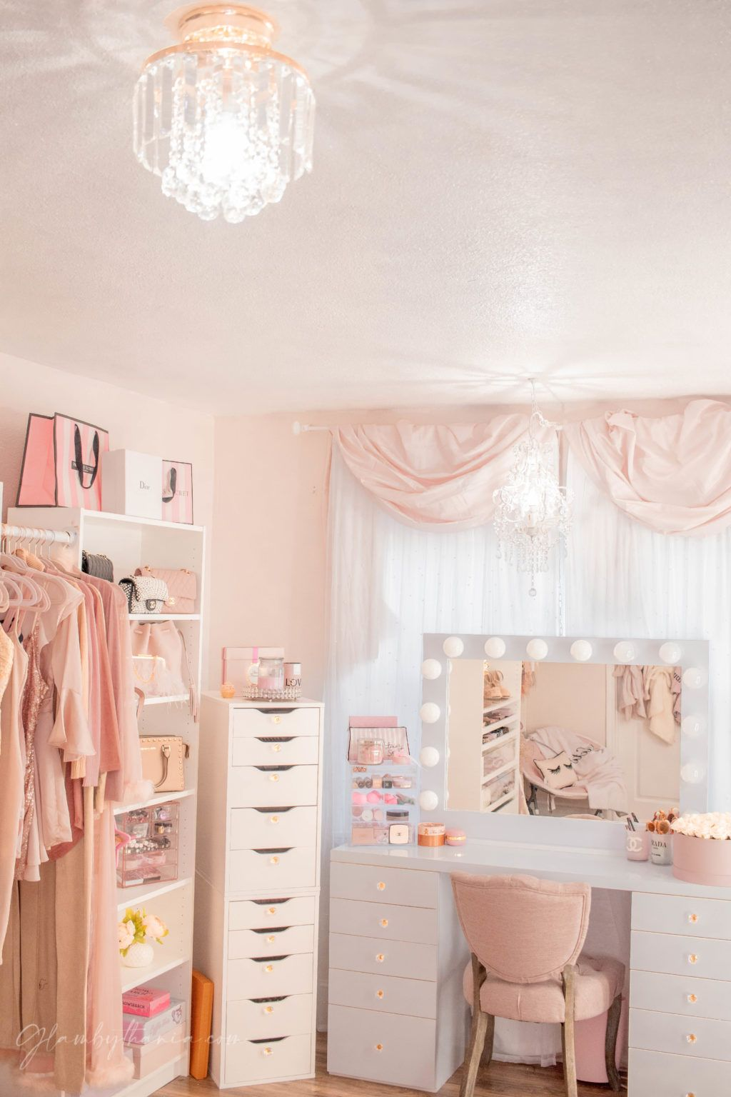 Photo of Pink Walk in Closet & Beauty Room Reveal