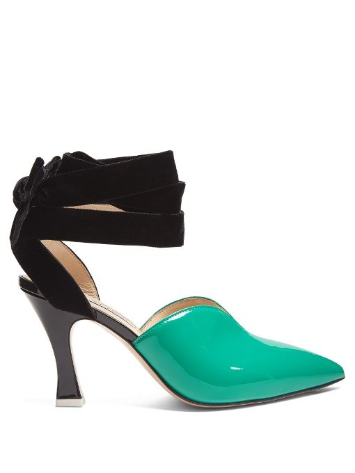 Attico Olivia patent-leather and velvet pumps