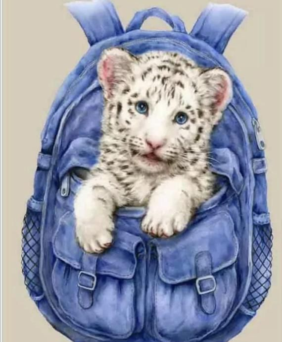 US Seller. 20x20cm White Tiger Backpack, Great for Kids, Small Beginners Diamond Painting Kit, Partial, Round Drills, Easy & Fast