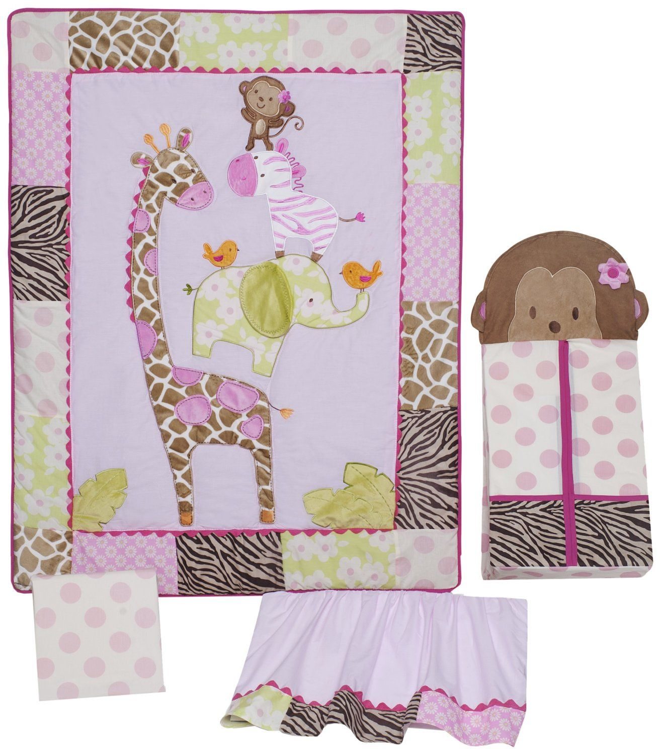 Monkey crib bedding for girl babies - Carters Jungle Collection Baby Bedding For Girlscrib