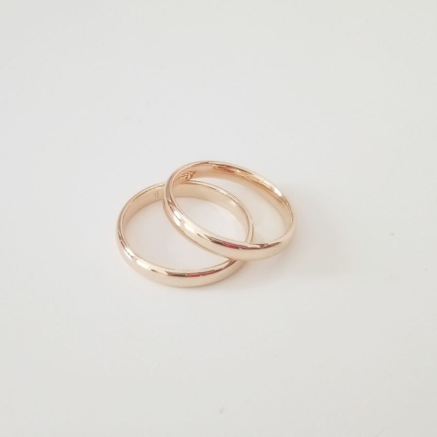 Rose gold color engagement slim wedding design ring for women men
