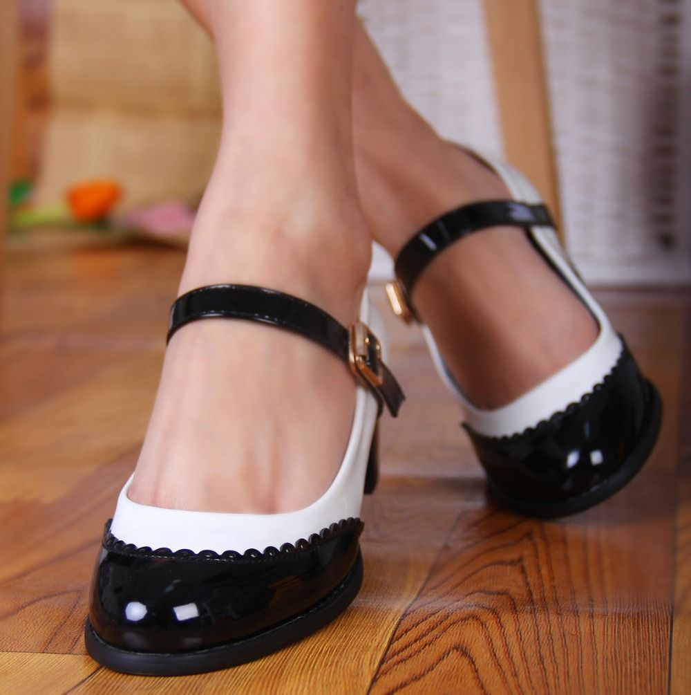 New Mary Jane Patent leather Casual Girls Flat Heels Womens Pumps Shoes Buckles