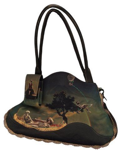 Michal Negrin Shoulder Bag Made of Leather with Vintage Style Printed Velvet, Swarovski Crystal Accents, Beaded and Lace Strips