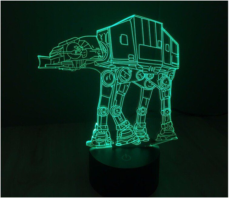 Creative Star Wars At At 3d Led Light Lamp Illuminates In 7 Colors Press The Button To Change The Colors 7 Colo 3d Led Light Star Wars Lamp Led Light Lamp