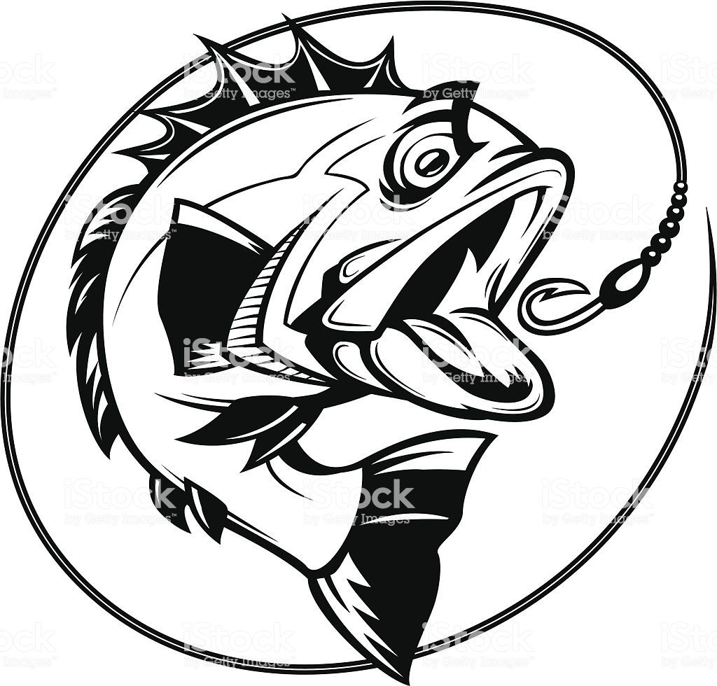 Cartoon Illustration Of A Bass Chasing A Hook Fish Outline Vector Art Illustration Vector Art