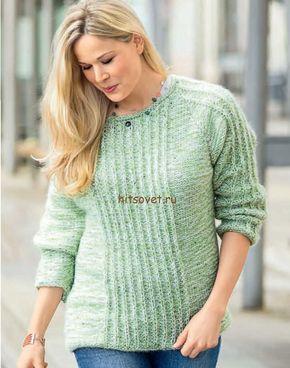4a8680eb5b7 Простой пуловер спицами для начинающих