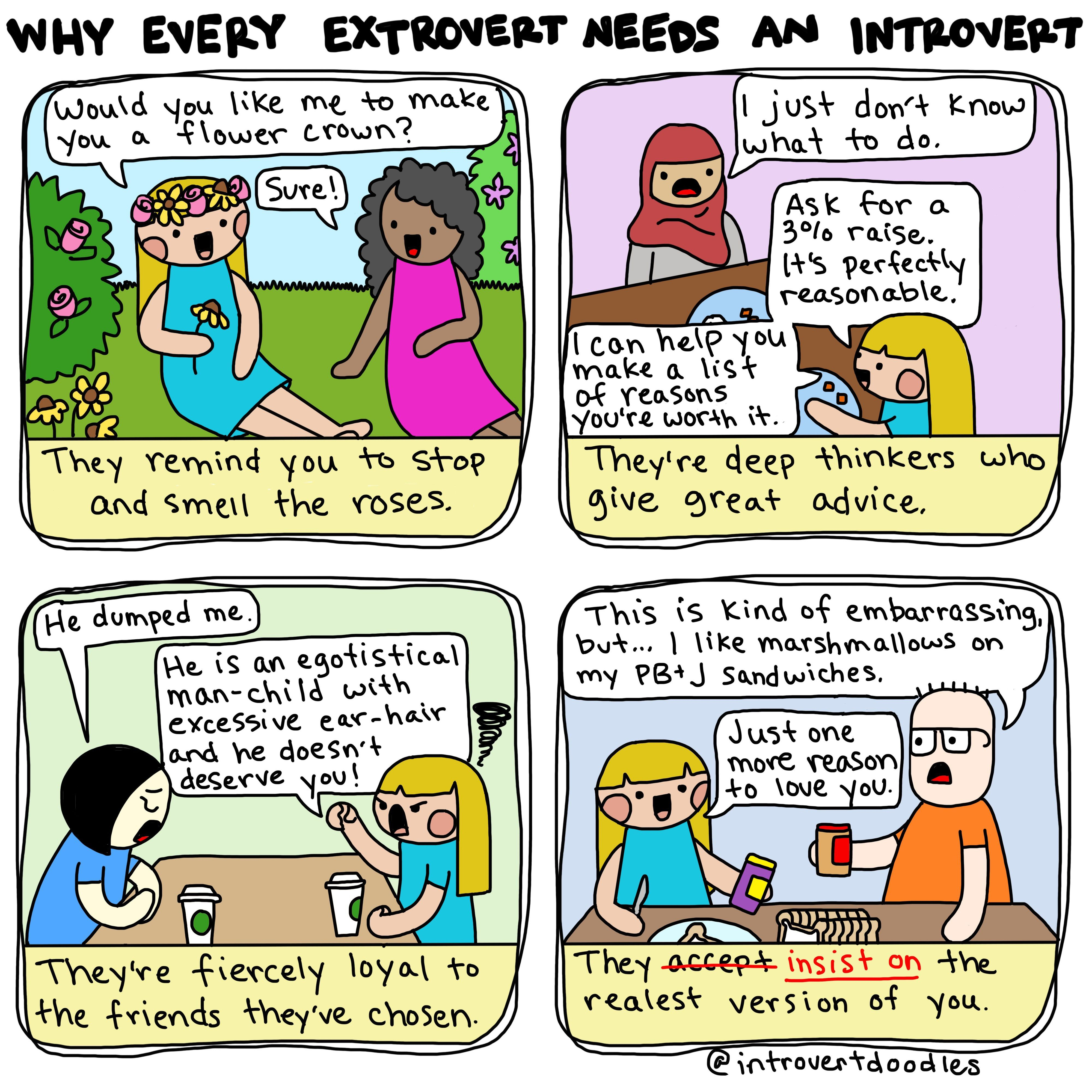 Why Every Extrovert Needs An Introvert Introvert Doodles - 20 struggles perfectly sum life introvert
