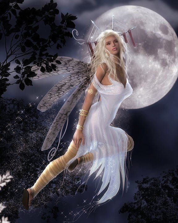 A White Fairy With White Moon In Background Beautiful