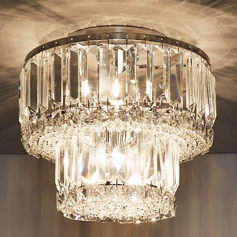 Buy john lewis elena 2 tier crystal bars flush ceiling light online at johnlewis com