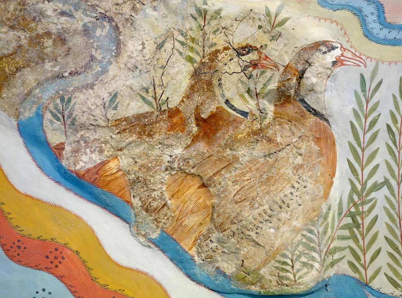 Detail From The Partridge Fresco Knossos Caravanserei