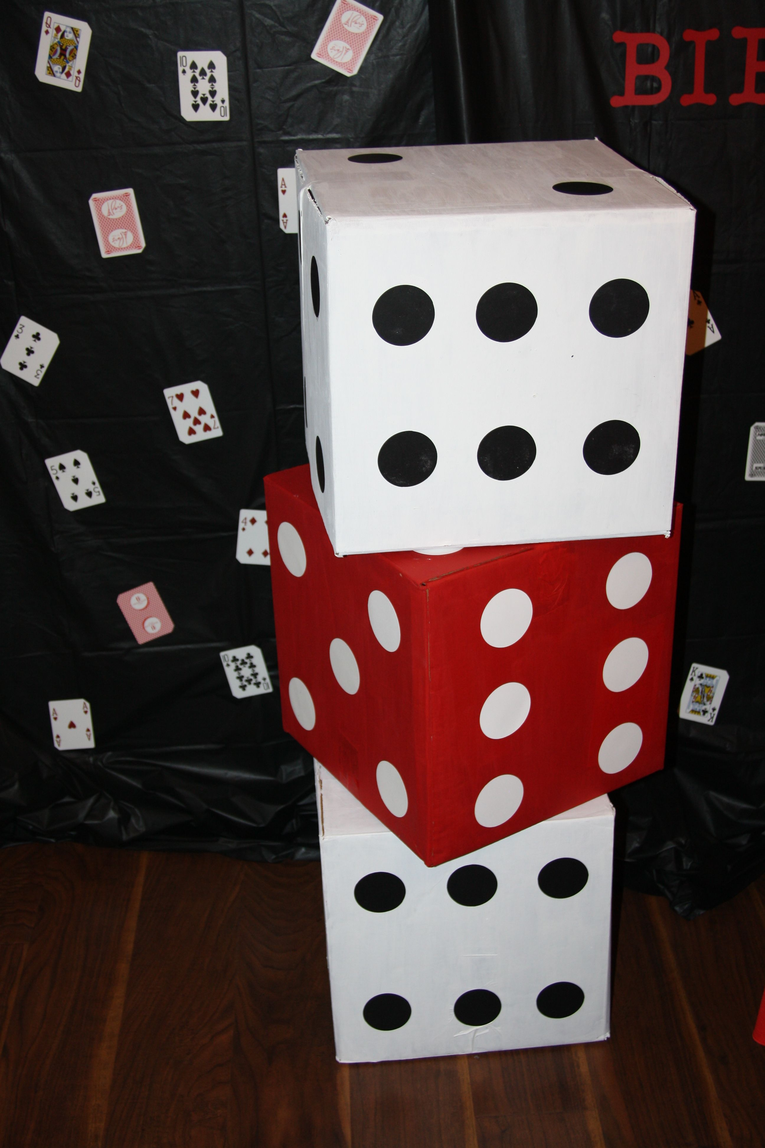 Very large dice made from boxes http//lalasworldblog