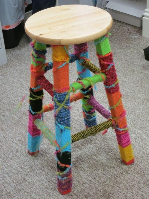 Yarn Wrapped Bar Stool For The Home Diy Stool Cat